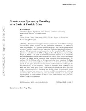 Primary view of object titled 'Spontaneous Symmetry Breaking as a Basis of Particle Mass'.