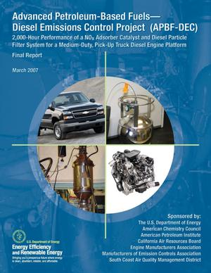 Primary view of object titled 'Advanced Petroleum-Based Fuels - Diesel Emissions Project (APBF-DEC): 2,000-Hour Performance of a NOx Adsorber Catalyst and Diesel Particle Filter System for a Medium-Duty, Pick-Up Diesel Engine Platform; Final Report'.