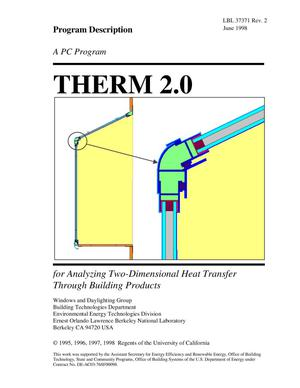 Primary view of object titled 'THERM 2.0: a PC Program for Analyzing Two-Dimensional HeatTransfer through Building Products'.