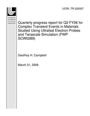 Primary view of object titled 'Quarterly progress report for Q2 FY06 for Complex Transient Events in Materials Studied Using Ultrafast Electron Probes and Terascale Simulation (FWP SCW0289)'.