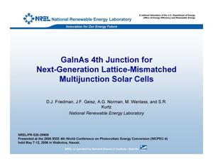 Primary view of object titled 'GaInAs 4th Junction for Next-Generation Lattice-Mismatched Multijunction Solar Cells (Presentation)'.