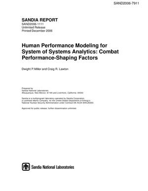 Primary view of object titled 'Human performance modeling for system of systems analytics: combat performance-shaping factors.'.