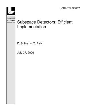 Primary view of object titled 'Subspace Detectors: Efficient Implementation'.