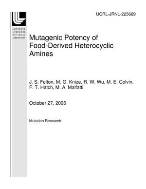 Primary view of object titled 'Mutagenic Potency of Food-Derived Heterocyclic Amines'.