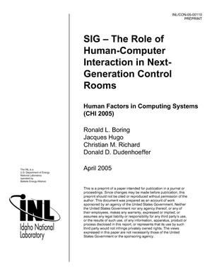 Primary view of object titled 'SIG -- The Role of Human-Computer Interaction in Next-Generation Control Rooms'.