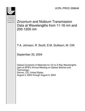 Primary view of object titled 'Zirconium and Niobium Transmission Data at Wavelengths from 11-16 nm and 200-1200 nm'.