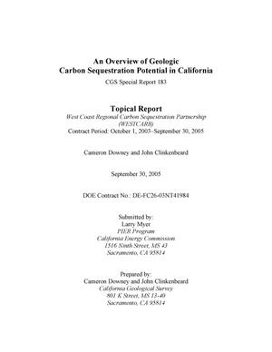 Primary view of object titled 'An Overview of Geologic Carbon Sequestration Potential in California'.