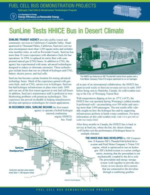 Primary view of object titled 'SunLine Tests HHICE Bus in Desert Climate'.