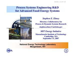 Primary view of object titled 'Process Systems Engineering R&D for Advanced Fossil Energy Systems'.