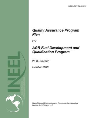 Primary view of object titled 'Quality Assurance Program Plan for AGR Fuel Development and Qualification Program'.