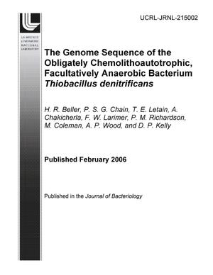 Primary view of object titled 'The Genome Sequence of the Obligately Chemolithoautotrophic, Facultatively Anaerobic Bacterium Thiobacillus Denitrificans'.
