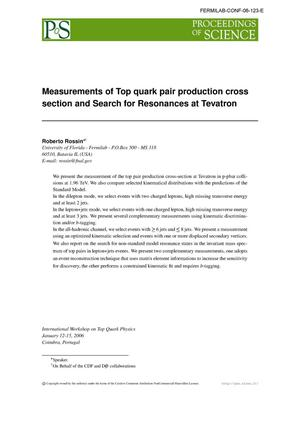 Primary view of object titled 'Measurements of top quark pair production cross section and search for resonances at Tevatron'.