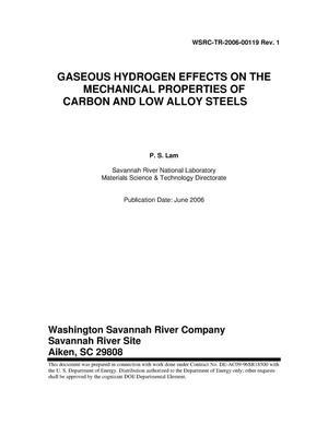 Primary view of object titled 'GASEOUS HYDROGEN EFFECTS ON THE MECHANICAL PROPERTIES OF CARBON AND LOW ALLOY STEELS (U)'.