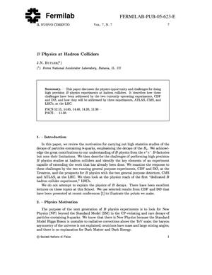Primary view of object titled 'B physics at hadron colliders'.
