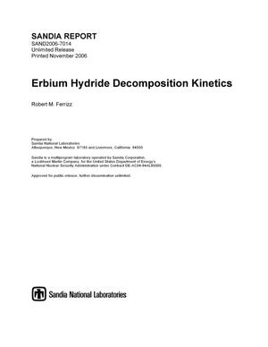 Primary view of object titled 'Erbium hydride decomposition kinetics.'.