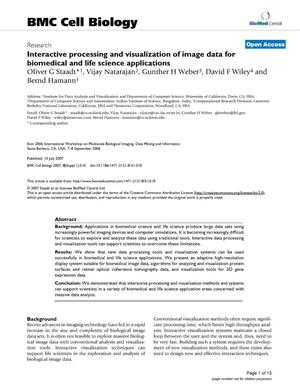Primary view of Interactive Processing and Visualization of Image Data forBiomedical and Life Science Applications
