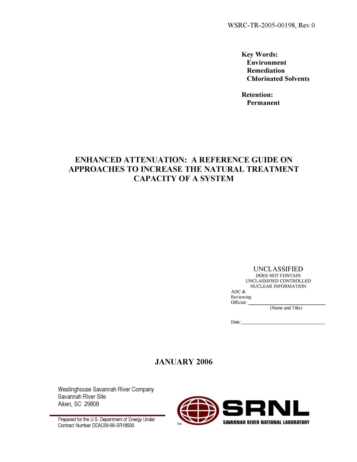 Enhanced Attenuation: A Reference Guide On Approaches To Increase The Natural Treatment Capacity Of A System                                                                                                      [Sequence #]: 2 of 161