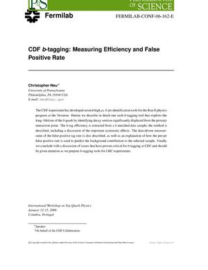 Primary view of object titled 'CDF b-tagging: Measuring efficiency and false positive rate'.