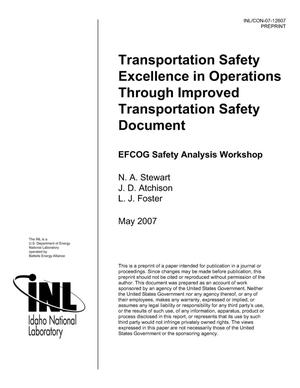 Primary view of object titled 'Transportation Safety Excellence in Operations Through Improved Transportation Safety Document'.