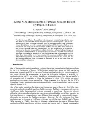 Primary view of object titled 'Global NOx Measurements in Turbulent Nitrogen-Diluted Hydrogen Jet Flames'.