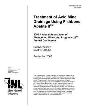 Primary view of object titled 'TREATMENT OF ACID MINE DRAINAGE USING FISHBONE APATITE IITM'.