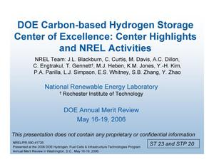 Primary view of object titled 'DOE Carbon-based Hydrogen Storage Center of Excellence: Center Highlights and NREL Activities (Presentation)'.