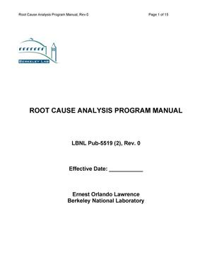 Primary view of object titled 'ROOT CAUSE ANALYSIS PROGRAM MANUAL'.