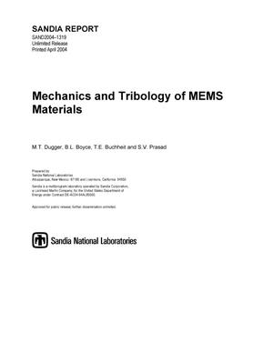 Primary view of object titled 'Mechanics and tribology of MEMS materials.'.