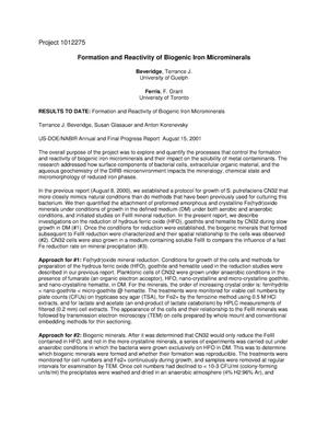 Primary view of object titled 'Formation and Reactivity of Biogenic Iron Microminerals'.