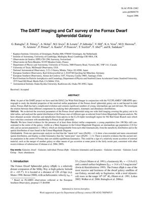 Primary view of object titled 'The DART Imaging And CaT Survey of the Fornax Dwarf Spheroidal Galaxy'.