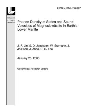 Primary view of object titled 'Phonon Density of States and Sound Velocities of Magnesiow?stite in Earth's Lower Mantle'.
