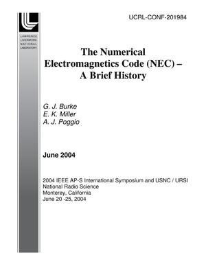 Primary view of object titled 'The Numerical Electromagnetics Code (NEC) - A Brief History'.