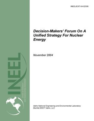 Primary view of object titled 'Decision-Makers' Forum on a Unified Strategy for Nuclear Energy'.
