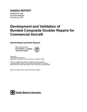 Primary view of object titled 'Development and validation of bonded composite doubler repairs for commercial aircraft.'.