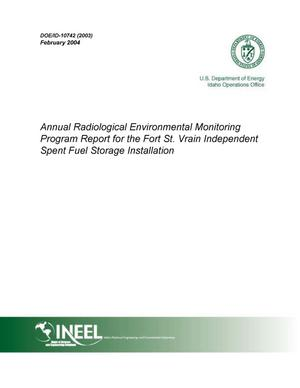 Primary view of object titled 'Annual Radiological Environmental Monitoring Program Report for the Fort St. Vrain Independent Spent Fuel Storage Installation (2003)'.