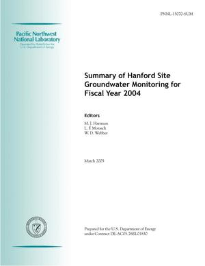 Primary view of object titled 'Summary of Hanford Site Groundwater Monitoring for Fiscal Year 2005'.