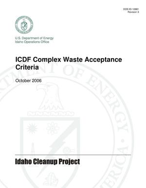 Primary view of object titled 'Idaho CERCLA Disposal Facility Complex Waste Acceptance Criteria'.