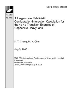 Primary view of object titled 'A Large-scale Relativistic Configuration-Interaction Calculation for the 4s-4p Transition Energies of Copperlike Heavy Ions'.