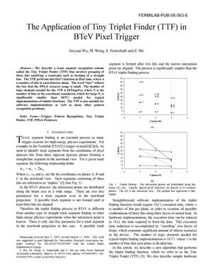 Primary view of object titled 'The application of Tiny Triplet Finder (TTF) in BTeV pixel trigger'.