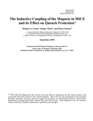 Primary view of object titled 'The Inductive Coupling of the Magnets in MICE and its Effect onQuench Protection'.