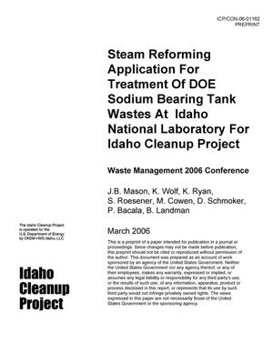 Primary view of object titled 'Steam Reforming Application for Treatment of DOE Sodium Bearing Tank Wastes at INL for ICP'.