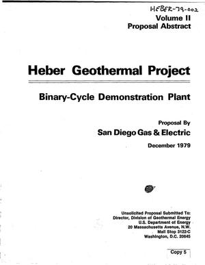 Primary view of object titled 'Heber Geothermal Project, binary-cycle demonstration plant. Volume II. Proposal abstract'.