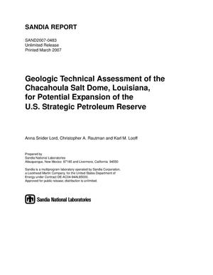 Primary view of object titled 'Geologic technical assessment of the Chacahoula Salt Dome, Louisiana, for potential expansion of the U.S. strategic petroleum reserve.'.