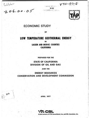 Primary view of object titled 'Economic study of low temperature geothermal energy in Lassen and Modoc counties, California'.