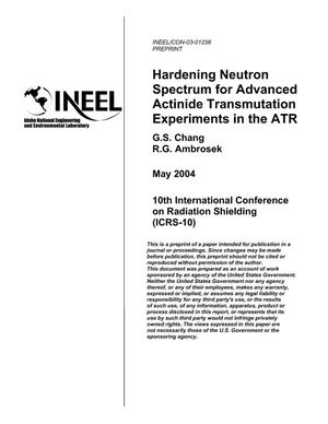 Primary view of object titled 'Hardening Neutron Spectrum for Advanced Actinides Transmutation Experiments in the ATR'.