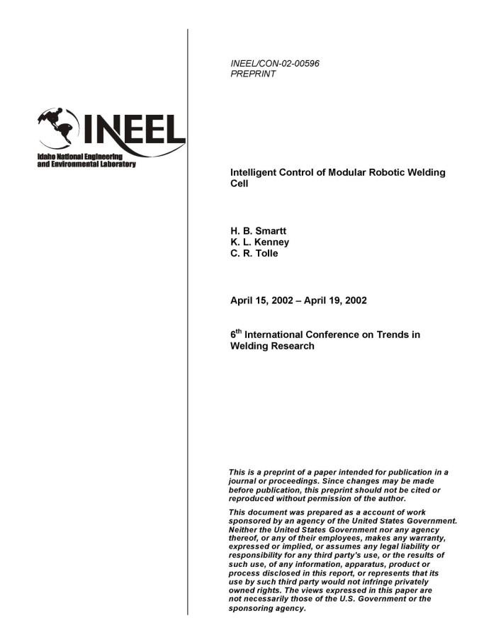 Intelligent Control of Modular Robotic Welding Cell