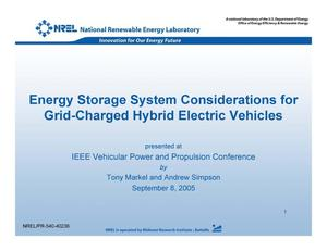 Primary view of object titled 'Energy Storage System Considerations for Grid-Charged Hybrid Electric Vehicles'.
