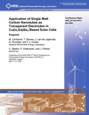 Primary view of object titled 'Application of Single Wall Carbon Nanotubes as Transparent Electrodes in Cu(In,Ga)Se2-Based Solar Cells: Preprint'.