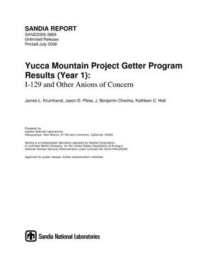 Primary view of object titled 'Yucca mountain project getter program results(year 1):I-129 and other anions of concern.'.