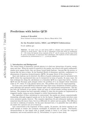 Primary view of object titled 'Predictions with Lattice QCD'.